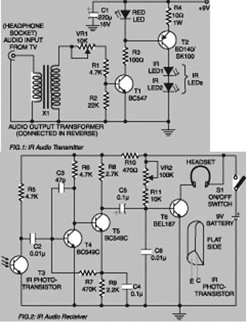 Shema prijamnika i predajnika za IR bežične slušalice