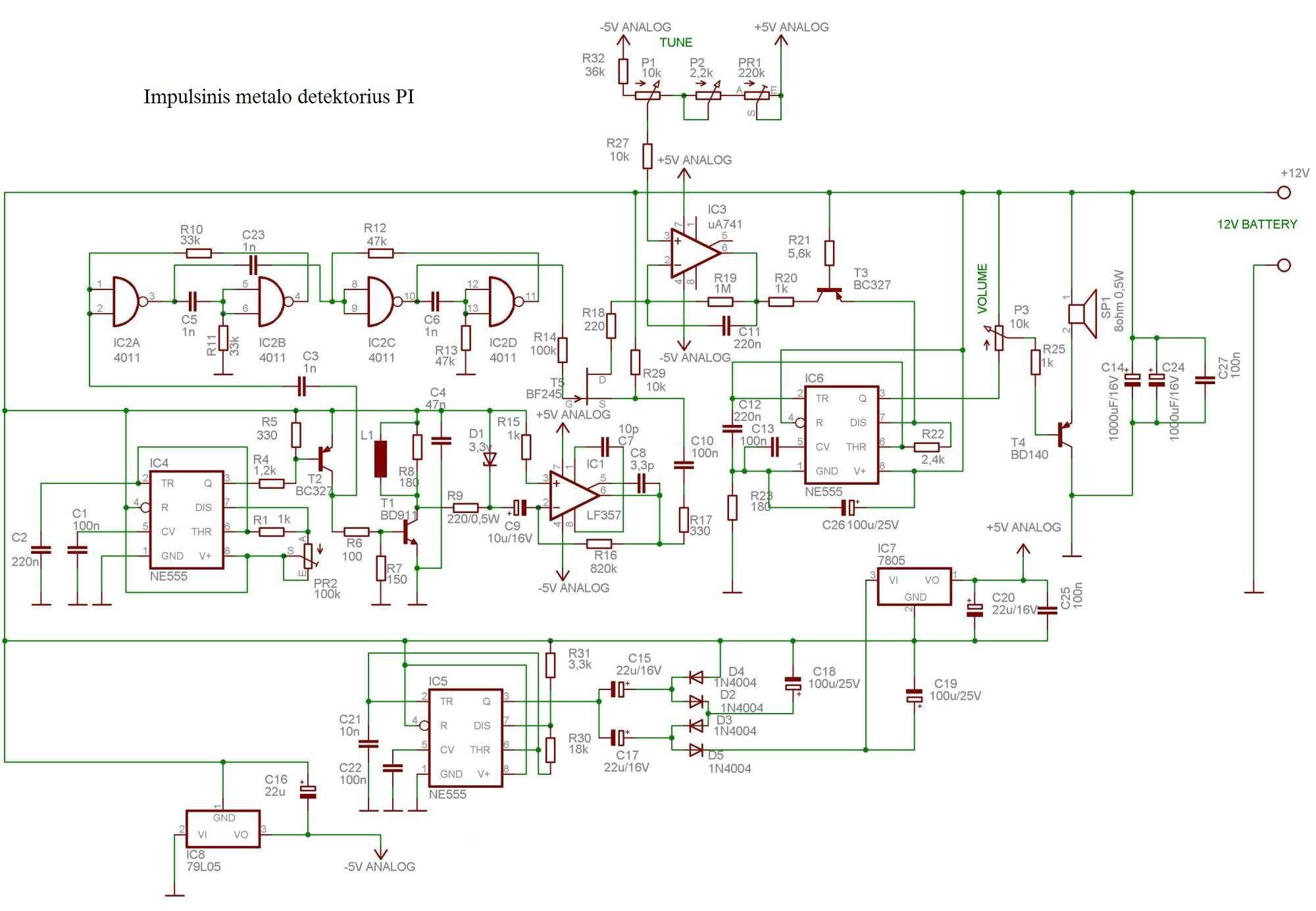 Shema metal detektora (klik za povećanje)