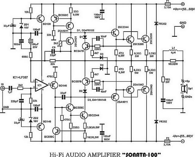 Shema Hi-Fi tranzistorskog audio pojačala Sonata-100