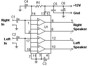 Shema pojačala snage 2 x 22W - TDA 1554
